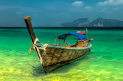 Wooden Digital Art Metal Prints - Thai Longboat Metal Print by Adrian Evans