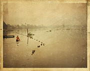 Old Paper Framed Prints - Thai river life Framed Print by Setsiri Silapasuwanchai
