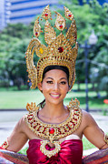 Gold Dress Prints - Thai Woman in Traditional Dress Print by Fototrav Print