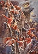 The 5th Division Storming By Escalade Print by William Barnes Wollen