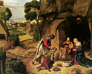 Shepherds Posters - The Adoration of the Shepherds Poster by Giorgione