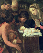 New Testament Paintings - The Adoration of the Shepherds by Guido Reni