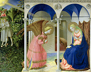Heavens Tapestries Textiles Posters - The Annunciation Poster by Fra Angelico