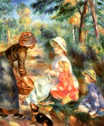 Blanket Digital Art Framed Prints - The Apple Seller Framed Print by Pierre-Auguste Renoir