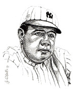 Yankees Drawings Framed Prints - The Babe Framed Print by Cory Still