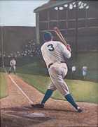Babe Ruth Paintings - The Babe Sends One Out by Mark Haley