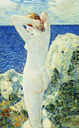Skin Painting Posters - The Bather Poster by Childe Hassam