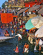 Pilgrims Framed Prints - The Bathing Ghats Framed Print by Steve Harrington