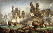 Ship Rough Sea Framed Prints - The Battle of Trafalgar Framed Print by English School