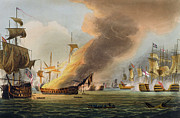 Napoleonic Wars Posters - The Battle of Trafalgar Poster by Thomas Whitcombe