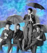 Umbrellas Digital Art - The Beatles by Paulette Wright