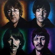 John Lennon Painting Metal Prints - The Beatles Metal Print by Tim  Scoggins