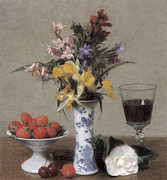 Flowers In White Vase Posters - The Betrothal Still Life Poster by Henri Fantin-Latour