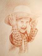 Little Boy Drawings Framed Prints - The Big Hat Framed Print by Laura Sapko