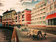 Jogging Posters - The Boardwalk At Walt Disney World Poster by Thomas Woolworth