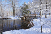 New England Snow Scene Metal Prints - The Bridge Metal Print by Bill  Wakeley