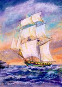 Ship Pastels Prints - The Brig Print by Bruce Schrader