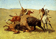 Frederic Remington Framed Prints - The Buffalo Hunt Framed Print by Frederic Remington