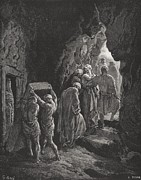 Tomb Drawings Posters - The Burial of Sarah Poster by Gustave Dore