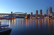 Businesses Prints - The Burrard bridge False creek waterway at dusk Canada. Print by Gino Rigucci