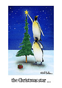 Penguins Art - the Christmas star by Will Bullas