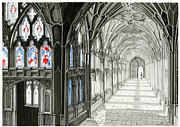 Award Drawings Framed Prints - The Cloisters Framed Print by John Simlett