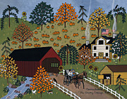 Covered Bridge Paintings - The Country Carriage Ride by Medana Gabbard