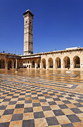 Mosque Posters - The courtyard of the Great Mosque in Aleppo Syria Poster by Robert Preston
