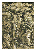 Crucifix Art Mixed Media Prints - The Crucifixion Woodcut Woodblock print Print by Christos Georghiou