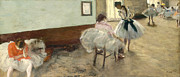 Ballet Dancers Painting Posters - The Dance Lesson Poster by Edgar Degas