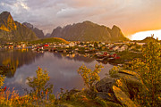 Norway Prints - The day begins in Reine Print by Heiko Koehrer-Wagner