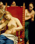 Rich Painting Prints - The Death of Cleopatra  Print by Guido Cagnacci