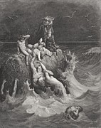 Waves Drawings Framed Prints - The Deluge Framed Print by Gustave Dore