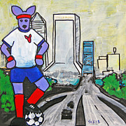 Jacksonville Mixed Media Prints - The Dingo Loves JAX Soccer Print by Yvonne Lozano