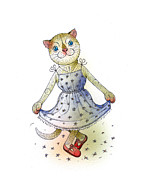Blue Flowers Painting Posters - The Dream Cat 03 Poster by Kestutis Kasparavicius