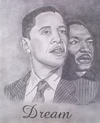 Obama Drawings Drawings Posters - The Dream Poster by Nicole Scott
