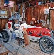 Garage Paintings - The Driving Lesson by Ruben Duran
