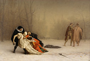 Gerome Painting Framed Prints - The Duel after the Masquerade Framed Print by Jean-Leon Gerome
