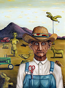 Overalls Painting Posters - The Eccentric Farmer Poster by Leah Saulnier The Painting Maniac