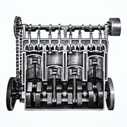 Camshaft Prints - The Engine Print by Martin Bergsma
