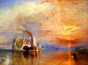 Turner Framed Prints - The Fighting Temeraire tugged to her last berth to be broken up Framed Print by Joseph Mallord William Turner