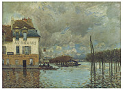 Flooding Painting Posters - The Flood at Port-Marly Poster by Alfred Sisley