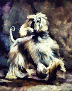 Afghan Hound Mixed Media - The Flow by Janice MacLellan