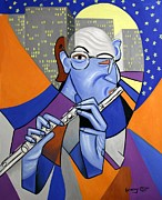 Cubist Digital Art Posters - The Flutist Poster by Anthony Falbo