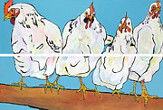 Pat Saunders-white Posters - The Four Clucks Poster by Pat Saunders-White