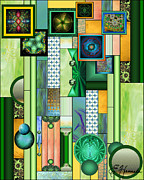 Turquoise Stained Glass Prints - The Gallery Print by Ellen Henneke