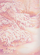 Snowflakes Drawings Posters - The Gently Falling Snow Poster by Elizabeth Dobbs