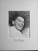Ronald Reagan Drawings Prints - The Gipper Print by Richard Johns