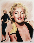 Red Lips Drawings - The Glamour days Marilyn by Andrew Read