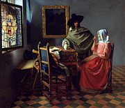 Art Of Wine Paintings - The Glass of Wine by Johannes Vermeer